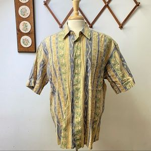 Pierre Cardin Floral Striped Abstract Button Shirt
